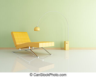 orange chaise longue and lamp against green wall - rendering