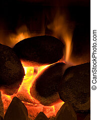 orange, charbons, chaud, flamme, brûlé