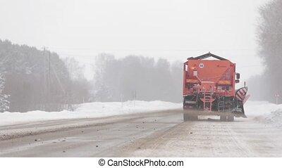 orange, charrue, camion, neige
