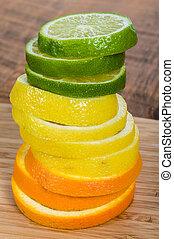 orange, chaux, pile, citron
