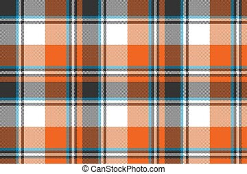 Orange check plaid seamless fabric texture. Vector...