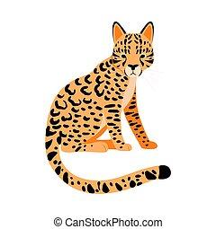 Orange Cheetah. Vector illustration on a white background.