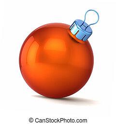 orange Christmas ball decor, Happy New Year bauble