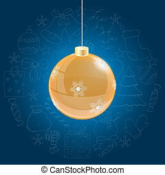 Orange christmas ball on blue background with doodle hand drawn icons
