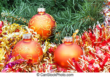 orange Christmas balls, red tinsel on Xmas tree 4