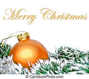Orange christmas ornament ball with wreath isolated on white