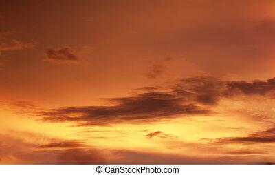 orange, ciel coucher soleil, fond