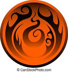 Orange circle, fantasy symbol, element of fire