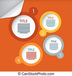 Orange Circle Vector Paper Infographics Layout - Template