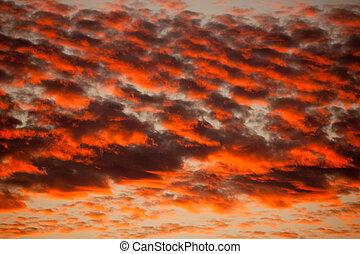 orange, cirrocumulus, wolkenhimmel