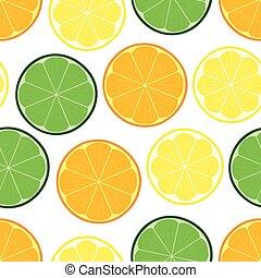orange., citron, citrus, seamless, modèle, chaux
