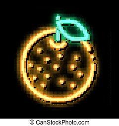Orange Citrus neon glow icon illustration