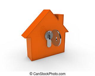 orange, clef maison, 3d