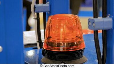orange, clignotant, balise, haut, avertissement, fin