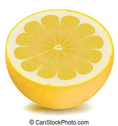orange - illustration of half piece of lemon on isolated...