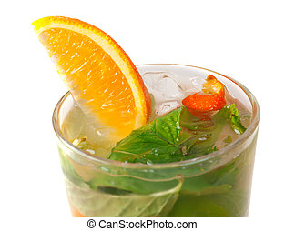 orange, closeup, cocktail., mojito