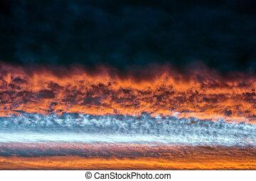 Orange clouds. Sinister sunset.
