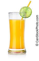 Orange cocktail in a big glass