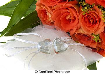 orange, coeur, 01, cristal, rose