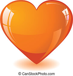 orange, coeur, scintillement