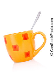 Orange coffee cup with a spoon
