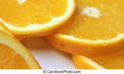 orange, coins, fond blanc