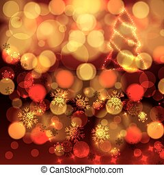 orange colorée, fond, lumières, noël, rouges