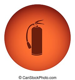 orange color circular frame with silhouette fire extinguisher icon