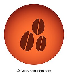 orange color circular frame with silhouette coffee beans in different sizes
