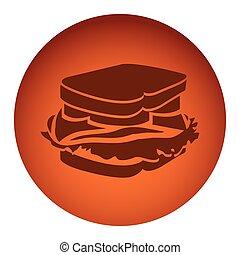 orange color circular frame with silhouette big sandwich