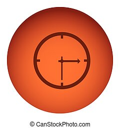 orange color circular frame with silhouette clock device