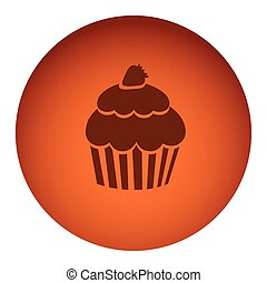 orange color circular frame with silhouette cupcake