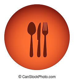 orange color circular frame with silhouette cutlery