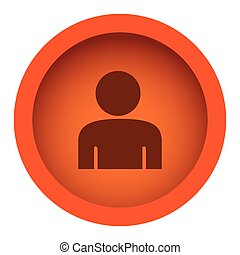 orange color circular frame with silhouette half body figure person