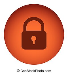 orange color circular frame with silhouette padlock