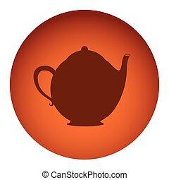 orange color circular frame with silhouette tea kettle