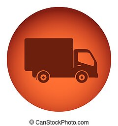 orange color circular frame with silhouette transport truck