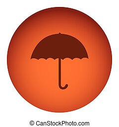orange color circular frame with silhouette umbrella