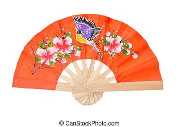 orange color fan isolated on white background.