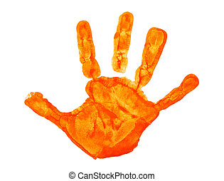 Orange color hand print isolated on a white background