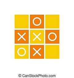 Orange color tic tac toe icon design, mini game illustration design - Vector.