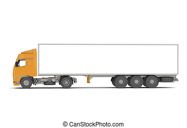Orange Commercial Truck, Isolated with Shadows
