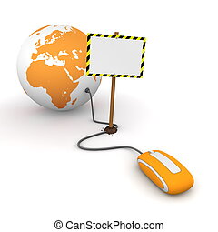 orange computer mouse is connected to a orange globe - ...
