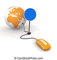 orange computer mouse is connected to an orange globe - surfing and browsing is blocked by a blue round mandatory-sign - empty template
