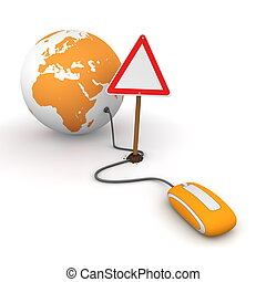 orange computer mouse is connected to an orange globe - surfing and browsing is blocked by a triangular red-white warning sign that cuts the cable - empty template sign