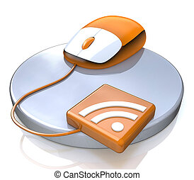 Orange computer mouse with RSS icon