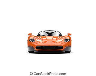 Orange concept race super car with black decals - front view
