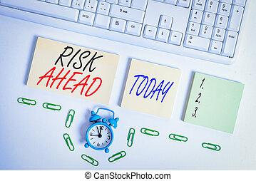 orange, concept, space., horloge, pc, écriture, probabilité, vide, papiers, texte, clavier, signification, ou, copie, carrée, perte, risque, blessure, abîmer, responsabilité, ahead., menace