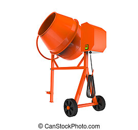 Orange Concrete Mixer isolated white background. 3D render