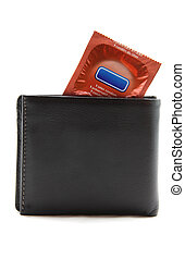 orange condom in black leather wallet